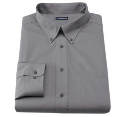 Men's Croft & Barrow® Slim-Fit Solid Broadcloth Button-Down Collar Dress Shirt, Size: 18.5-34/35, Grey