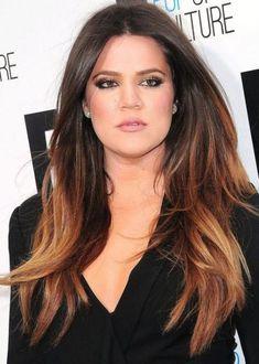 2014 hair color ideas | Khloe Kardashian Ombre Hair Color Idea: Dark brown to copper ombre