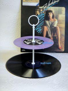 2 tier Vinyl Record Cupcake Stand Rockabilly Retro Cake Stand - Purple