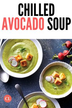 This is the perfect dinner for a sweltering summer night. Cold sparkling water is a genius addition to this recipe—its bubbly effervescence provides the perfect lift to buttery ripe avocado. Avocado Soup, Ripe Avocado, Vegan Vegetarian, Vegetarian Recipes, Cooking Recipes, Summer Recipes, Chill, Meals, Dinner