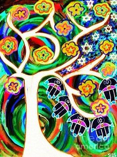 Sandra Silberzweig - Judaica Hamsa Tree Of Life Ivory - Original Art Print (copyright)   For additional print sizes, commission work, or purchase of my Original Artwork, please feel free to email me at isandra@primus.ca   If you are interested in viewing more of my artwork, I will gladly email you additional links.   I look forward to your inquires.   ALL MY ARTWORK IS COPYRIGHTED   IMAGE NOT TO BE USED WITHOUT MY PERMISSION