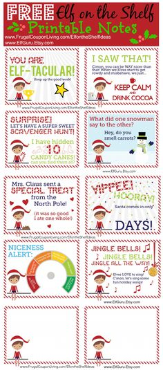 FREE Elf on the Shelf Notes and daily funny Elf on the Shelf Ideas on Frugal Coupon Living FREE Elf on the Shelf Notes. Print these cute elf notes for ideas each evening. New ideas daily on Frugal Coupon Living. Christmas Activities, Christmas Printables, Christmas Traditions, Elf On Shelf Printables, Elf On The Shelf, Shelf Elf, Elf On Shelf Notes, To Do App, Timmy Time