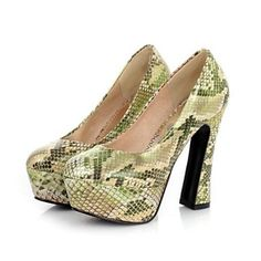 Faux Patent Leather Women's Fashion Snakeskin Platform High Heel Pumps only at NZ$60
