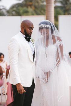 Amanda & Sydney's Outdoor White Wedding in Ghana is GOALS Backyard Wedding Dresses, Chic Wedding Dresses, Wedding Bridesmaid Dresses, Wedding Gowns, Ghanian Wedding, African American Brides, Wedding Designs, Wedding Ideas, Wedding Ceremony