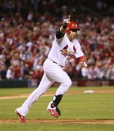 Carlos Beltran runs to first after hitting the game-winning single in the bottom of the 13th inning during Game 1 of the NLCS against the Dodgers.  Cards won 3-2.  10-11-13
