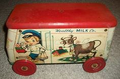Vintage Tin and Wood Litho Gong Bell Milk Truck Pull Toy CA | http://toyspark482.blogspot.com