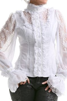 Gothic Shirts and Steampunk Blouses Victorian Shirt, Gothic Shirts, Lace Tops, Shirt Blouses, Blouses For Women, Designer Dresses, Ideias Fashion, Casual Outfits, Fashion Dresses
