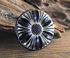 Czech Glass Button-27mm Indigo Blue & Silver Daisy by VodaBeads