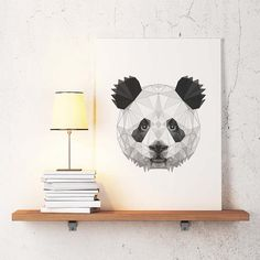 Panda Poster Geometric Art, Panda wall decor, Minimalist Abstract Print, Simple art,