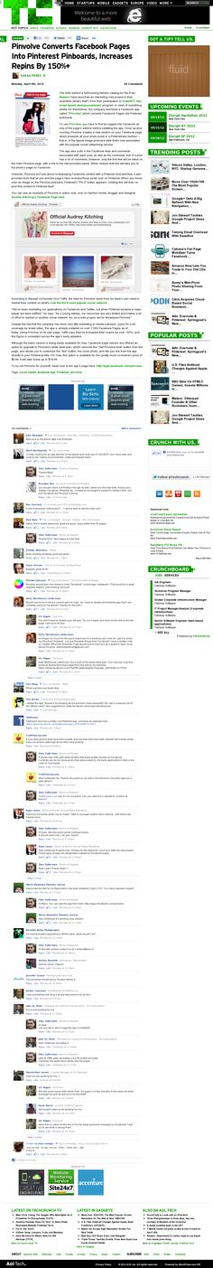 Pinvolve, a Pinterest-like app on Facebook - article from TechCrunch. Website 'http://techcrunch.com/2012/04/09/pinvolve-converts-facebook-pages-into-pinterest-pinboards-increases-repins-by-150/' snapped on Snapito!
