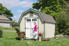 Colonial Greenfield Wood Shed (with Pre-Cut Parts): we offer the very popular Colonial Greenfield Wood Shed (with Pre-Cut Parts) tht is produced by Little Cottage Company. This classic wood storage and garden shed has a gambrel roof and high side walls. Build A Shed Kit, Wood Shed Kits, Garden Shed Kits, Diy Shed Kits, Storage Shed Kits, Building A Shed, Barn Storage, Storage Area, Green Building