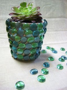 :Busy Hands::Busy Minds:: : Gem Flower Pot : flat glass and a glue gun onto a terra cotta pot