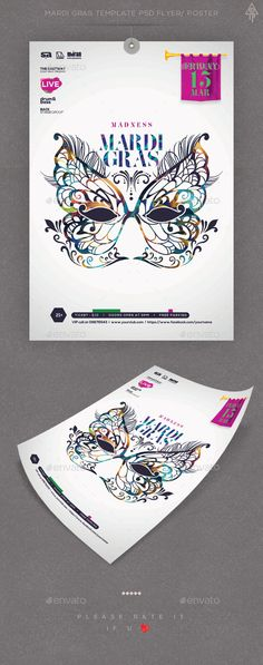 Madness Mardi Gras PSD Template Flyer / Poster - Clubs & Parties Events