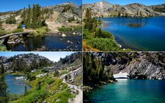 Views of Emerald and Ruby Lakes on the way to Garnet Lake from Thousand Island Lake on the PCT in California.