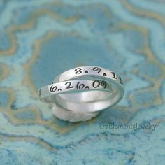 Mother's Ring Personalized Ring Double Mother's by 7ElementsStudio, $60.00