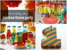 First Birthday with a Rainbow Theme Party