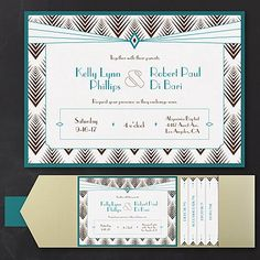 Diamond Delight - Layered Pocket Invitation A fishbone-like design and delightful diamonds decorate this layered pocket invitation generating an art-deco illustration. Available in several pocket, ink and paper colors. Discount Wedding Invitations, Art Deco Wedding Invitations, Unique Invitations, Pocket Invitation, Invitation Cards, Invitation Ideas, Great Gatsby Wedding, Wedding Blog, Wedding Ideas