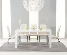Buy the Atlanta White High Gloss Dining Table with Cavello Chairs at Oak Furniture Superstore White Gloss Dining Table, White Dining Set, Dining Sets, Oak Furniture House, Dining Furniture, Mdf Furniture, Quality Furniture, Oak Furniture Superstore, Faux Leather Dining Chairs