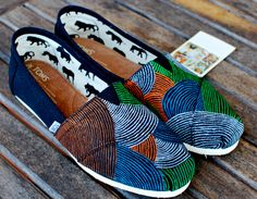 Colorful pinstripe TOMS shoes. $119.00, via Etsy.