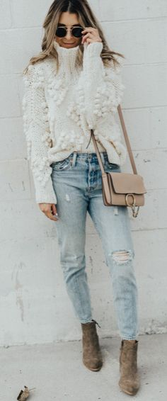 the cutest winter outfit ever ripped jevis jeans + high neck knit