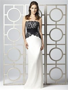 Gown <3 2849  Strapless full length dress with black lace overlay and black matte satin inset waistband, (lace and waistband always black)  Choose a colour for bridesmaids or keep white or Ivory for that simple elegant bride