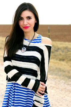 Blogger Adriana @Kaellyn Marrs Lucia looking lovely in a Charlotte Russe striped sweater! See more of her #ootd on her blog post - Leopard Martini: Stripes + Stripes
