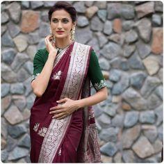 Ethnic Sarees, Banarasi Sarees, Indian Sarees, Silk Sarees, Bengali Saree, Sabyasachi, Silk Saree Blouse Designs, Saree Blouse Patterns, Modern Blouse Designs