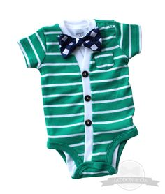 SALE+Cardigan+and+Bow+Tie+Set++Green+with+Navy+Gingham+by+HaddonCo,+$25.00