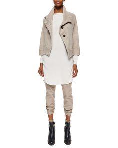 Brunello Cucinelli Cashmere Peacoat Jacket, Long-Sleeve Silk Monili-Detail Tunic & Garment-Dyed Five-Pocket Jeans
