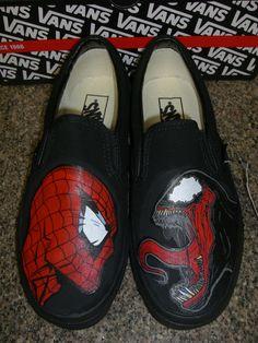 Handpainted+SpiderMan+vs+Venom++Shoes+Vans++by+WalkingDeadApparel,+$120.00