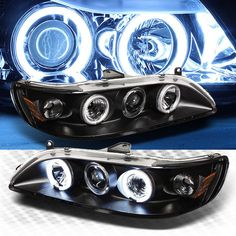 For CCFL Halo 1998-2002 Honda Accord Projector Headlights Blk Head Lights Pair