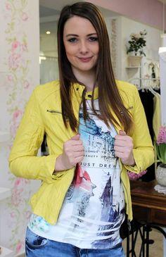 Yellow leather coat Yellow Leather, Sweater Jacket, Coats, Blazer, Sweaters, Jackets, Women, Fashion, Bebe