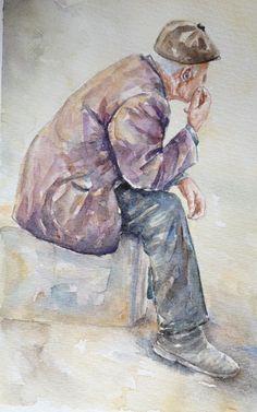 Watercolor Painting Techniques, Watercolor Portraits, Watercolor Cards, Watercolor Illustration, Watercolour Painting, Painting & Drawing, Watercolor Print, Painting People, Drawing People