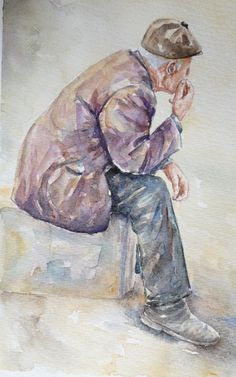 FREE shipping Original figurative watercolor painting by SuayaArt