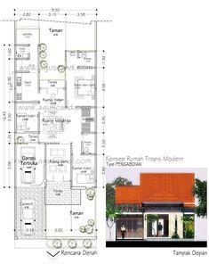 Konsep Denah & Tampak Tipe PENGABDIAN_POST Home Map Design, Small House Design, Dream House Plans, House Floor Plans, Building A Small House, House Map, House Layouts, Home Fashion, Ideal Home