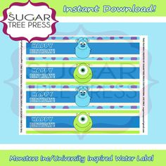 INSTANT DOWNLOAD - Monsters Inc/University Inspired Water Bottle Labels