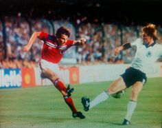 West Germany 0 England 0 in 1982 in Madrid. Steve Coppell centres in Phase 2, Group A of the World Cup Finals.