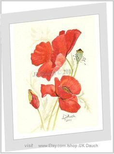 Red Poppy art print  Original Watercolor Painting by by JKDAUCH, $14.99