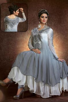 Stylish Grey, Off White Georgette  Resham Embroidered Ankle Length Anarkali Suit