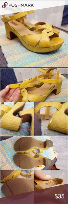 Miz Mooz Mustard Yellow Platform Strappy Sandal Adorable and comfortable Miz Mooz sandals. I just didn't wear them enough this year so I'm passing them on but they've been a favorite. Velcro adjustable closure. Wear shown in pics. Sold AS IS and priced accordingly. 🚫 No trades! Miz Mooz Shoes Sandals