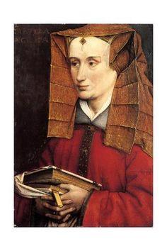 Portrait of Louise of Savoy as Sibylla Agrippa, Jacques Daret. (ca 1404 - ca Medieval Hats, Medieval Books, Medieval Costume, Medieval Clothing, Medieval Life, Renaissance Fashion, Renaissance Art, Renaissance Portraits, Renaissance Jewelry