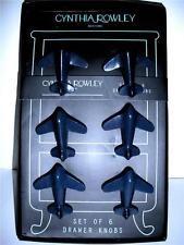 Cynthia Rowley Set of 6 Blue Airplane Metal Boys Dresser Drawer Knob Pull Set