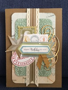 Men's Anna Griffin Birthday card. Antique Card Toppers, AG embossing folder, and Cuttlebug die cut used.