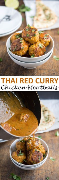 Thai Red Curry Chicken Meatballs. A quick weeknight dinner that takes less than 30 minutes to make.   chefsavvy.com #recipe #thai #red #curry #chicken #meatballs