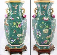 chinese vases floor size with gold handle | ... Japanese Or Chinese Moriage Satsuma Vase-Painted Flowers-Handles-Large