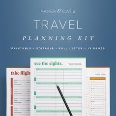 Travel Planning Kit – Vacation Planner, Travel Planner Printable, Trip Organizer, Roadtrip Checklist, Packing List / Household PDF Printable