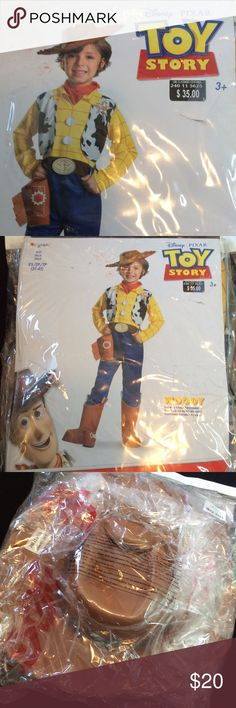 Disney PIXAR Toy Story Woody Halloween Costume Disney PIXAR Toy Story Woody Halloween/Dress Up Costume.  Includes jumpsuit with attached vest and holster, boot covers, hat and bandana.  Ever worn but packaging is a bit beat up. Disney Costumes Halloween