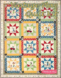 Vintage Play Quilt Kit Featuring Vintage Play by Suzn Quilts - Fat Quarter Shop
