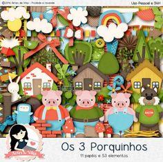 Kit Digital Os 3 Porquinhos by Vika Matos