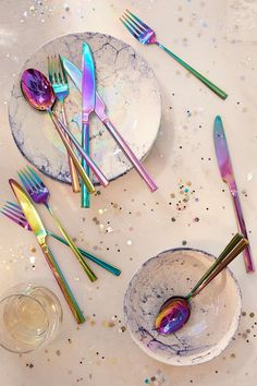 27. Urban Outfitters 12-Piece Electroplated Flatware Set ($69): Heck yes, your dinner just got way more 'grammable. With its iridescent finish and gold shimmer, this set of flatware will make every meal extra mer-magical.